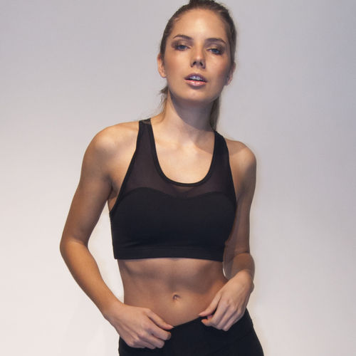 Ladies sport bra top with transparent – black