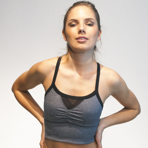 Ladies sport bra top – grey marl