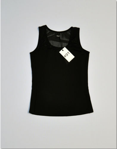 Ladies singlet top with mesh – black with black mesh