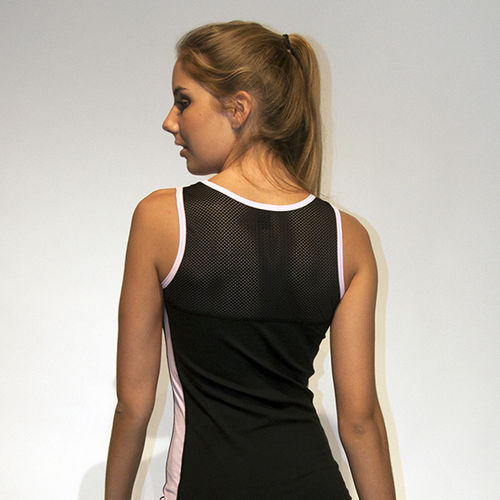 Ladies singlet top – black mesh with pink trim and pink panels