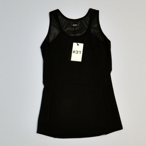 Ladies singlet top with mesh and cut out – black with black mesh