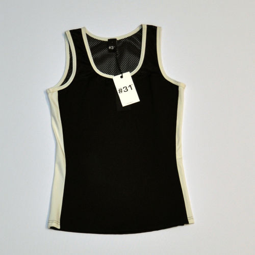 Ladies singlet top – black with cream trim and cream inserts