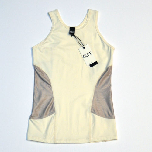 Ladies singlet top – cream with cream mesh panels