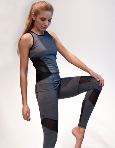 Ladies legging with mesh panels – grey marl with black mesh