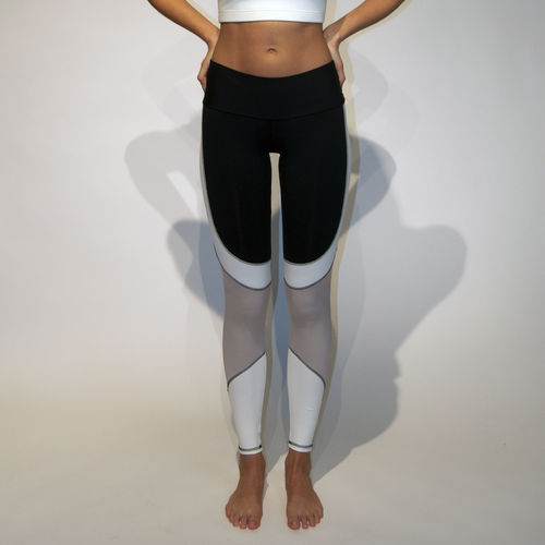 Ladies low waisted legging – black with white panels and cream mesh