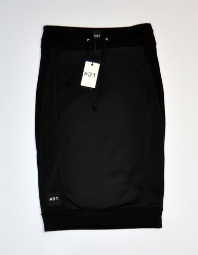 Ladies knee length skirt in scuba and cotton – black