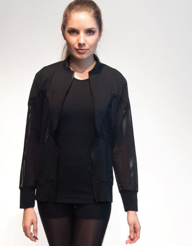 Ladies mesh sweater – black