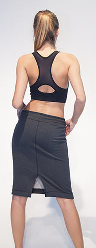 Get the look #3 – black bra top with grey marl skirt in terry