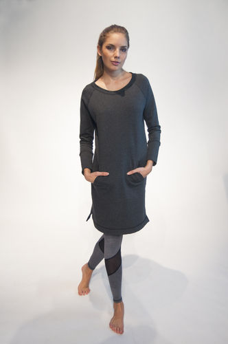 Ladies terry dress with pockets – grey marl